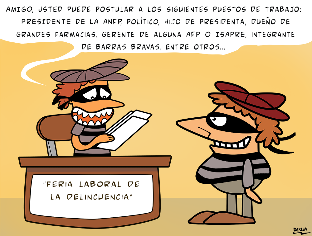 Viñeta: Feria Laboral de la Delincuencia.